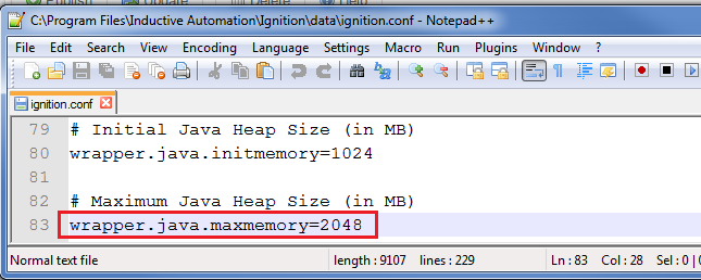 Max heap memory setting for the Gateway
