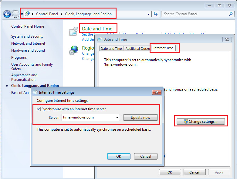 Synchronizing Windows 7 clock to a time server
