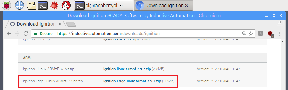 Locate Ignition Edge Linux ARMF installer