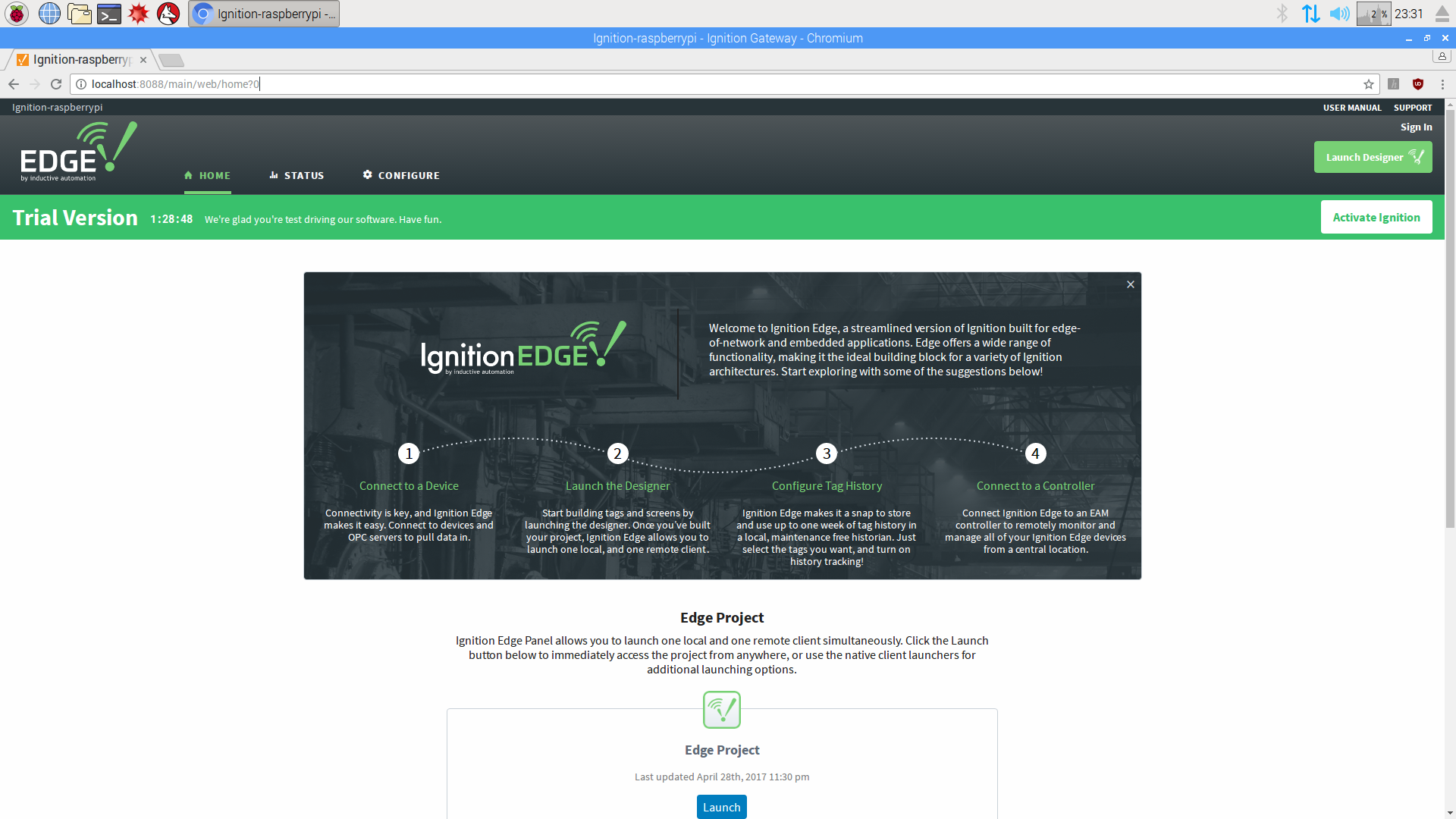 Ignition Edge Gateway's home page