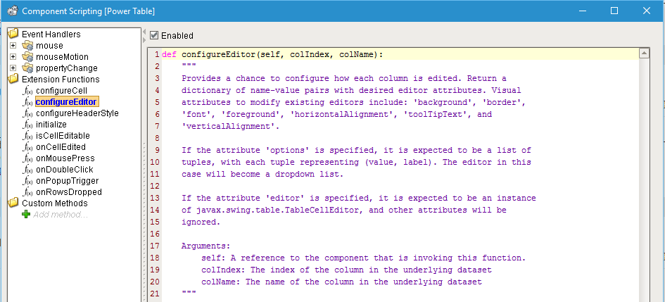 configureEditor function